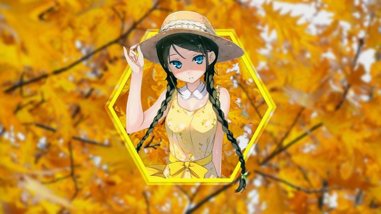 Kantoku Yellow Dress Geometry Shapes Anime Girls Hd Wallpaper Desktop Background