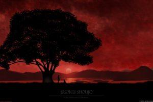 Enma Ai, Anime girls, Anime, Sunset, Red background, Trees, Bonsai