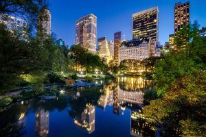 Central Park, New York City, Skyscraper, Pond, Lights, City, Reflection