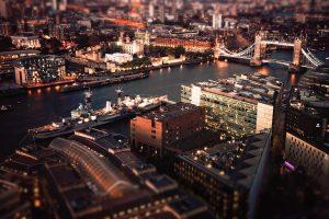 tilt shift, River, London, Boat, Tower Bridge