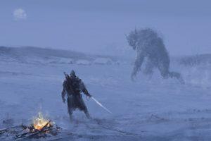 creature, Bonfires, Sword, Snow, Village