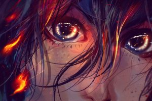 Hit Girl, Fire, Portrait, Drawing