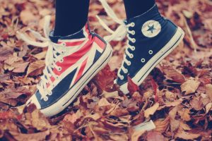 fall, All Star, Fallen leaves, Converse, Union Jack, Shoes, Leaves