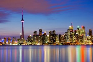 Toronto, City, Cityscape, Reflection, Architecture, Lights, Sky, Colorful