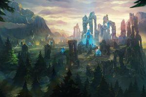 Quinn (League Of Legends), Video games, Videojuegos, League of Legends, Fantasy art, Forest, Mountains, Crystal