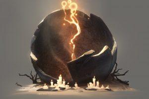 Billy Wimblett, Digital art, Candles, Broken, Simple background, Fantasy art