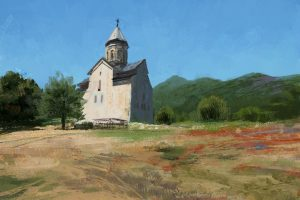 digital art, Landscape, Mountains, Church, Artwork