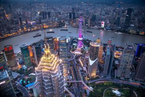 skycrapers, Ship, Panorama, Lights, Boat, Evening, China, River, Shanghai, Cityscape