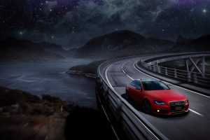 Audi, Audi A4, Audi B8, Red cars, Car, Mountains, Starry night, Road, Sports car, Matte paint, Matte red, Space, Nebula, Water, Bridge