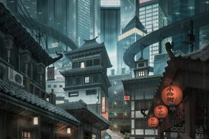 cityscape, Artwork, Skyscraper, Digital art, Alleyway, City, Japan