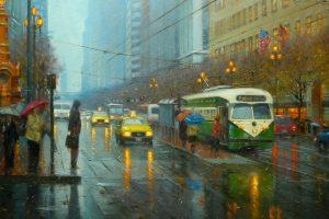 city, Cityscape, Rain, Vintage, San Francisco
