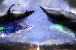 Vampy, Photoshop, Lightning, Horizon, Fantasy art, Abstract