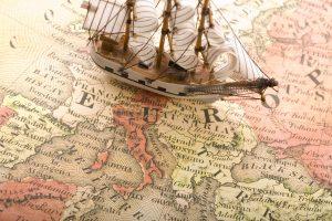 map, Sailing ship, Model ship, Digital art