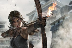Lara Croft, Women, Tomb Raider, Video games, Bow, Arrow, Arrows, Fire