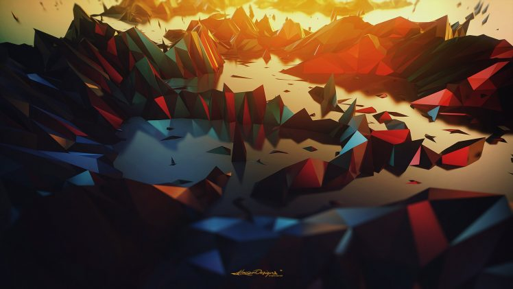 Lacza, Low poly, Digital art, Abstract, Triangle, Landscape, Poly, Geometry, Minimalism HD Wallpaper Desktop Background