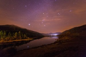 river, Stars, Night, Starry night, Forest, Trees, Nature