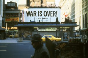 John Lennon, Yoko Ono, Protestors, Men, Vietnam War, Poster, New York City, USA, Building, 1960s, Car, Taxi