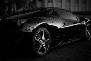 car, Ferrari, Monochrome, Depth of field