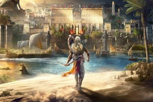 assassins, Video games, Assassins creed Origins, Egypt, River, Boat, City, Assassin&039;s Creed, Assassin&039;s Creed: Origins