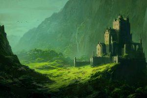 artwork, Fantasy art, Castle, Landscape, Mountains