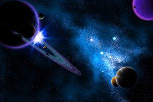 space, Planet, 3D, Digital art, Moon, Galaxy