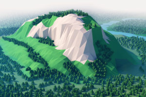 low poly, 3D, Cinema 4D, Digital art, Mountains, Forest, River, Sky, Landscape, Photoshop