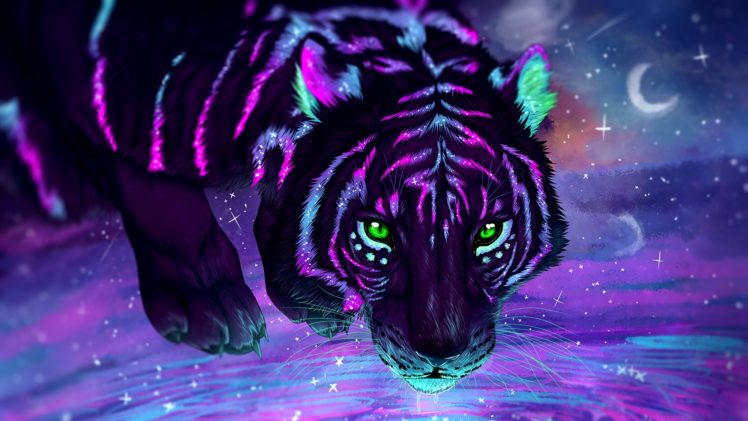 Digital Art Tiger Stars Galaxy Wallpapers Hd Desktop And Mobile