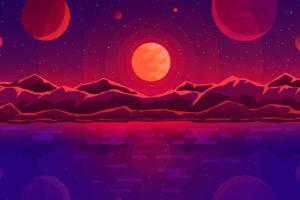 sunset, Artwork, Mountains, Sun, Stars