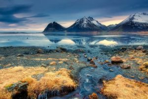 blue, Water, Iceland, Nature, Landscape, Reflection, Mountains