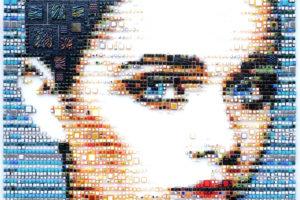 women, Isabelle Scheltjens, Face, Blue eyes, Artwork, Mosaic, Portrait display, Square, Glass, 3D, Portrait