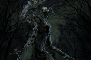 Shadeocai I Mourn, 3D, Digital art, Night, Nightmare, Trees, Dark fantasy, Creature, Fantasy art, The Witcher, The Witcher 3: Wild Hunt