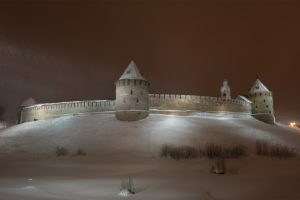 architecture, Castle, Nature, Landscape, Trees, Forest, Snow, Winter, Night, Tower, Snowing, Novgorod, Russia, Long exposure