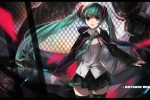 swd3e2, Anime, Anime girls, Vocaloid, Hatsune Miku, Thigh highs, Skirt, Twintails, Aqua hair, Aqua eyes