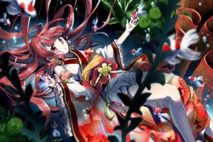 original characters, Traditional clothing, Kimono, Swimming, Water, Fish, Anime girls, Anime, Underwater