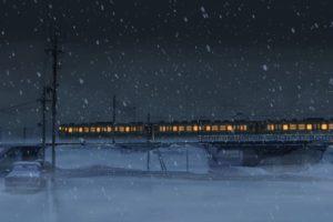 5 Centimeters Per Second, Makoto Shinkai, Winter, Snow, Train