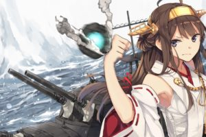 anime, Kantai Collection, Kongou (KanColle), Japanese clothes, Anime girls, Brunette, Gray eyes