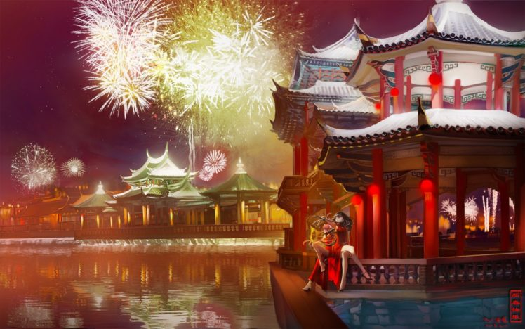Mahou Shoujo Madoka Magica, Kaname Madoka, Fireworks, Traditional clothing, Akemi Homura, Night HD Wallpaper Desktop Background
