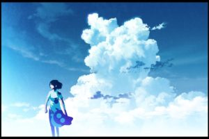 anime, Anime girls, Clouds