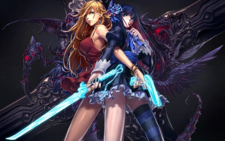 anime girls, Katana, Demon, Gun, Anarchy Panty, Anarchy Stocking, Panty and Stocking with Garterbelt HD Wallpaper Desktop Background