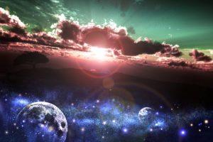 sunrise, Clouds, Planet