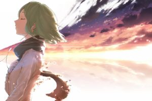 anime, Scarf, Hand on heart, Headphones, Green hair, Smiling, Closed eyes, Sunrise, Anime girls, Vocaloid, Megpoid Gumi