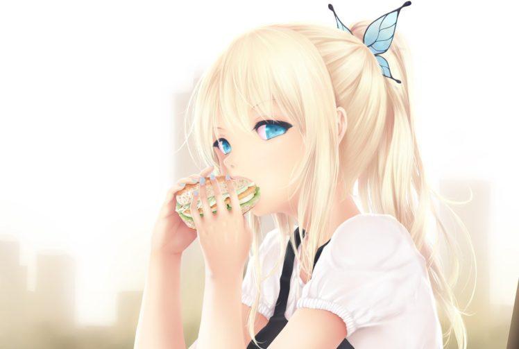 anime girls, Anime, Simple background, Long hair, Blonde, Burgers, Eating, Blue eyes, White dress, Kashiwazaki Sena HD Wallpaper Desktop Background