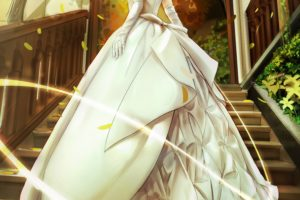 Saber, Dress, Anime, Fate Stay Night, Saber Lily, Wedding dress, Ribbon, Braids, Stairs, Petals, Trees, Anime girls