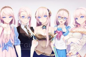 Megurine Luka, Suits, Princesses, School uniform, Anime girls, Women, Blue eyes, Glasses, Pink hair, Headphones, Tiaras, Headband, Vocaloid