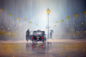artistic, Paintings, London, Storm, Rain, Rainfall, Vehicles, Cars, Umbrella