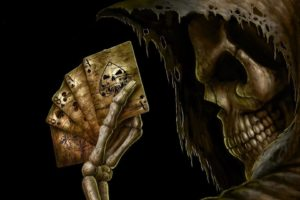 dark, Grim, Reaper, Horror, Skeletons, Skull, Creepy, Cards, Games, Poker, Ace, Spades