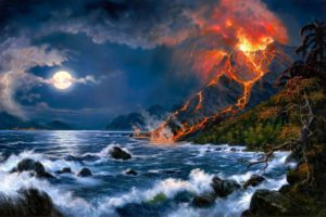 volcano, Mountain, Lava, Nature, Landscape, Mountains, Fire, Artwork, Ocean, Sea, Painting