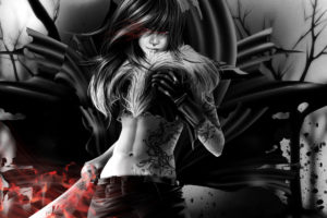 art, Vampire, Vampire, Girl, Sword, Black, And, White, Tattoo, Gloves, Piercing, Fur, Tattoo, Pattern, Fantasy, Dark