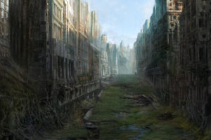 art, City, Ruin, Desolation, Postapokaliptika, Ruins, Apocalyptic, Post, Dark, Sci fi