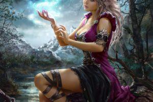 fantasy, Girl, Woman, Beauty, Beautiful, Tree, Long, Hair, Moon, Dress